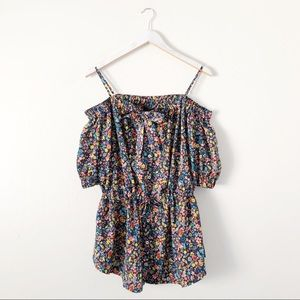 LOVE Moschino Floral Print Open Shoulder Blouse